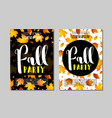 set autumn party flyer template with lettering