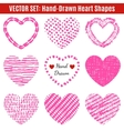 set hand-drawn textures heart shapes vector image vector image
