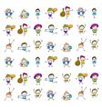 set of cartoon happy kids vector image vector image