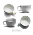 set of white porcelain coffee cups high detailed vector image vector image