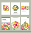 set with six floral romantic templates tulips vector image vector image