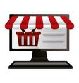 shopping online computer basket vector image