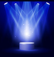 stage or podium in spotlight rays - award pedestal vector image