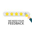 star rating businessman holding a gold star in vector image