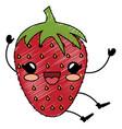 strawberry fresh kawaii character vector image vector image
