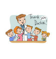 thank you doctor greeting card vector image