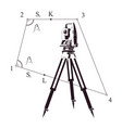 total station and measurement plan vector image vector image
