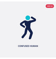 two color confused human icon from feelings vector image