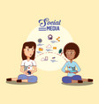 two woman sitting user smartphone social media vector image vector image
