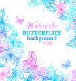 Watercolor colourful butterflies background vector image vector image