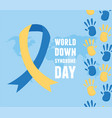 world down syndrome day blue background map ribbon vector image vector image