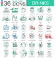 drinks flat line outline icons for apps and vector image