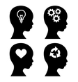 Head Silhouette with Idea Icons Set vector image
