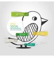 drawn social bird design and infographics vector image