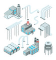 factory pipe and set of industrial buildings vector image