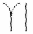 zipper open and closed zipper slide fastener vector image