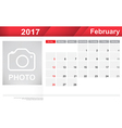 Year 2017 February month simple and clear design vector image