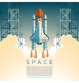 a flat style rocket takes off vector image vector image