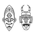 african masks of savages engraving style vector image vector image