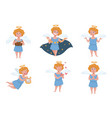 angel or cupid with halo and wings harp and book vector image vector image