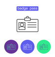 badge pass outline icons set vector image