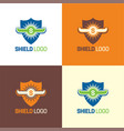bull horns shield logo and icon vector image vector image