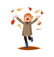 Cartoon boy kid falling autumn leaves