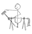 cartoon man or businessman sitting on saddle vector image