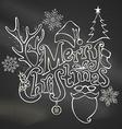Chalk Merry Christmas Decoration vector image