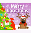 christmas background card with deer vector image vector image