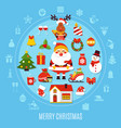christmas round composition vector image vector image