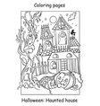 coloring halloween funny haunted house with vector image vector image