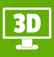 computer monitor with 3d inscription icon green vector image vector image