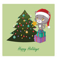 cute little cat decorating the christmas tree vector image vector image