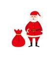 cute santa claus and big bag of christmas presents vector image vector image