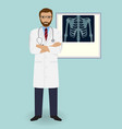 doctor on a x-ray radiograph background medical vector image