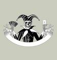 engraved human skeleton in a joker suit vector image