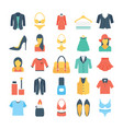 fashion and clothes colored icons 2 vector image vector image