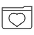 favourites line icon file folder with heart vector image vector image