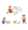 flat children at countryside scenes set vector image vector image