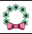 floral frame with bow decorative icon vector image