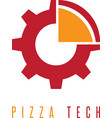 gear and slice of pizza design template vector image