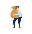 happy businessman hugging bag of money with vector image