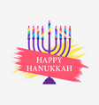 happy hanukkah menorah with nine candles paint vector image vector image