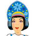 head of the girl in woman s headdress vector image vector image