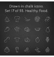Healthy food icon set drawn in chalk vector image