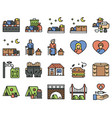 homeless icon set 3 filled style vector image