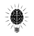 incandescent lamp in form a person brain vector image