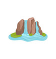 island with waterfall blue water flowing by big vector image