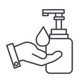 liquid soap with hand line icon sign vector image vector image